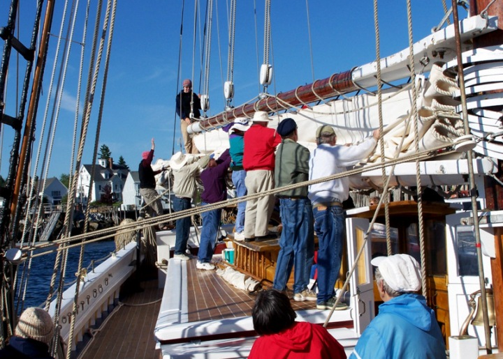 Guests Helping with Mainsail